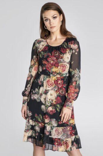Linia wizytowa. Szyfonowa sukienka w kwiaty polskiej marki Vito Vergelis