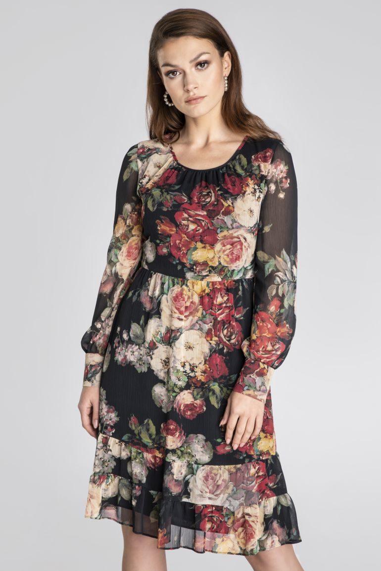Wizytowa sukienka w róże