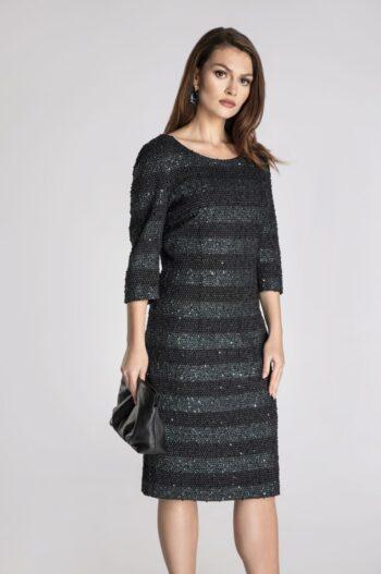 Linia wizytowa. Sukienka z miękkiej dzianny w pasu ozdobionej cekinami polskiej marki Vito Vergelis