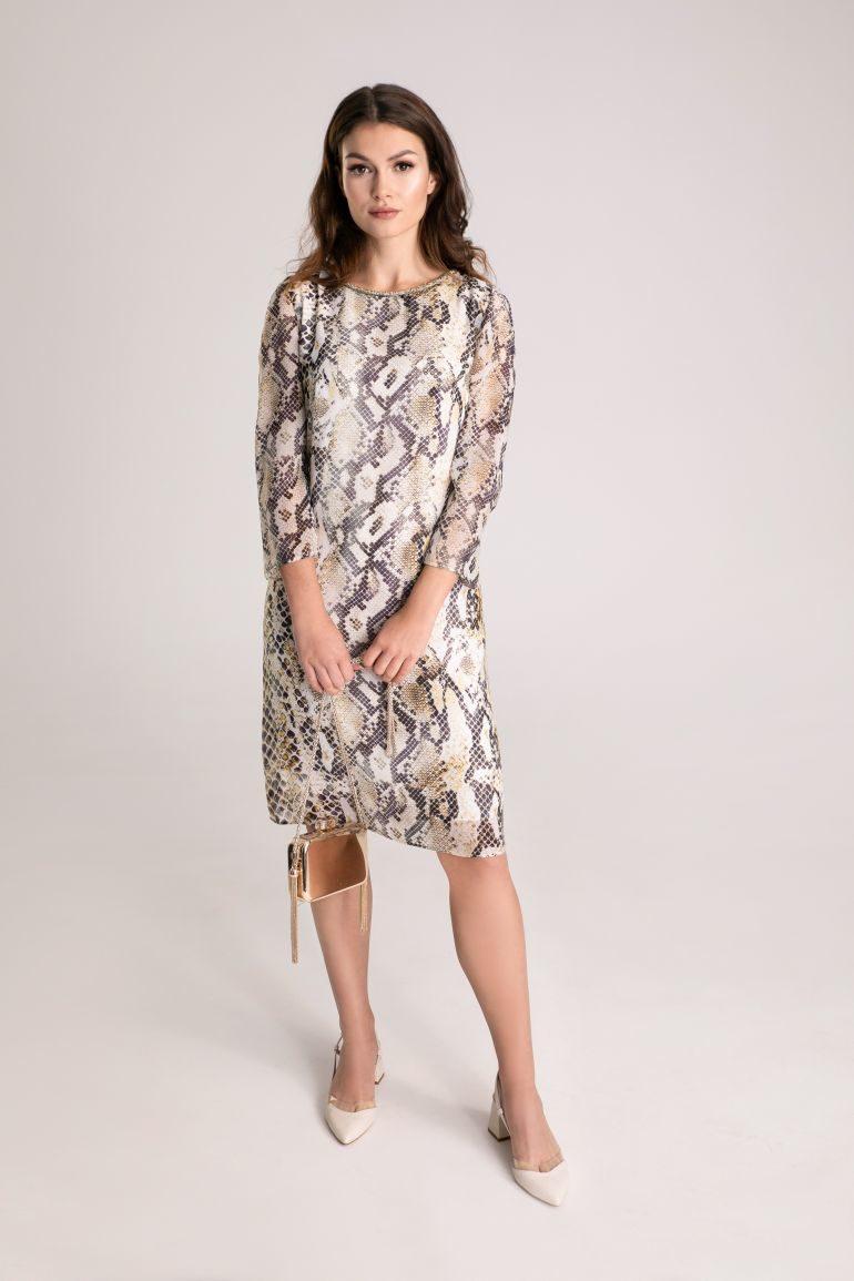 Wizytowa sukienka we wzór węża z plisowaniem