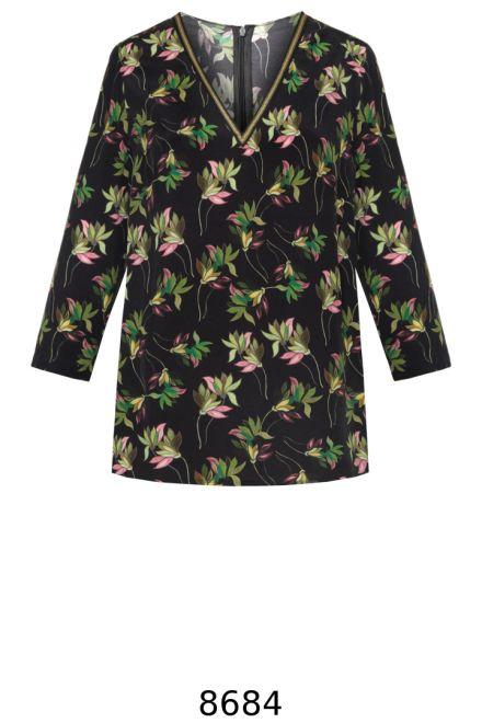 Bluzka w kwiaty z długim rękawem - cupro wiskoza. Bluzka Vito Vergelis