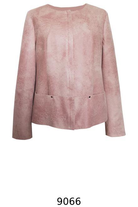 różowa kurtka pudełkowa z ekoskóry. Kurtka Vito Vergelis