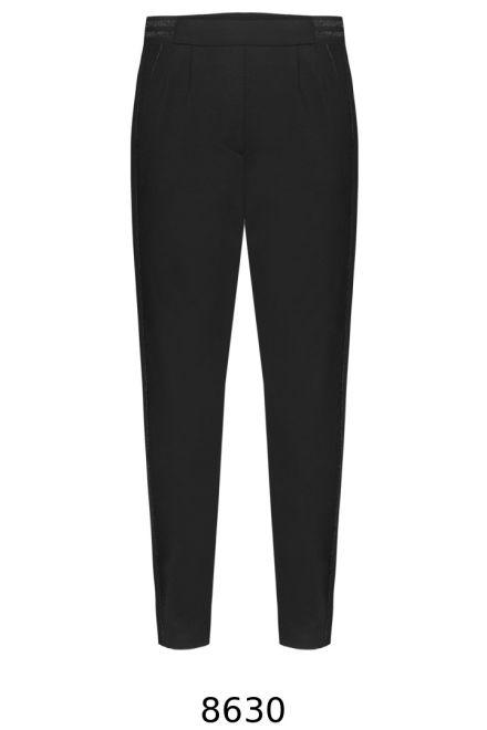 Czarne dzianinowe spodnie Vito Vergelis z gumą z tyłu i ozdbobną bizą