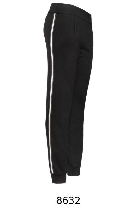 Czarne dzianinowe spodnie z lampasami Vito Vergelis.