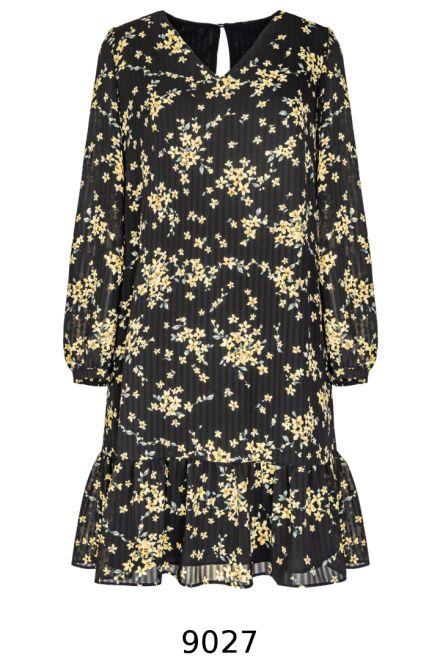Czarna sukienka z długim rękawem w żółte kwiatki z falbanami. Sukienka Vito Vergelis.