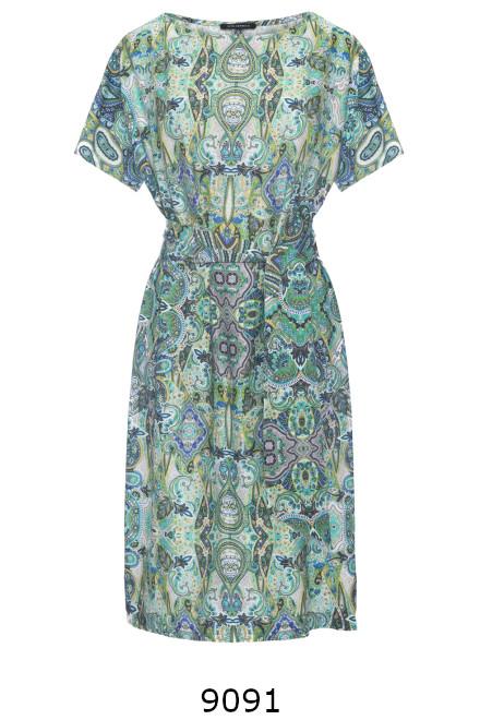 Zielona sukienka z wiskozy z szarfą marki Vito Vergelis