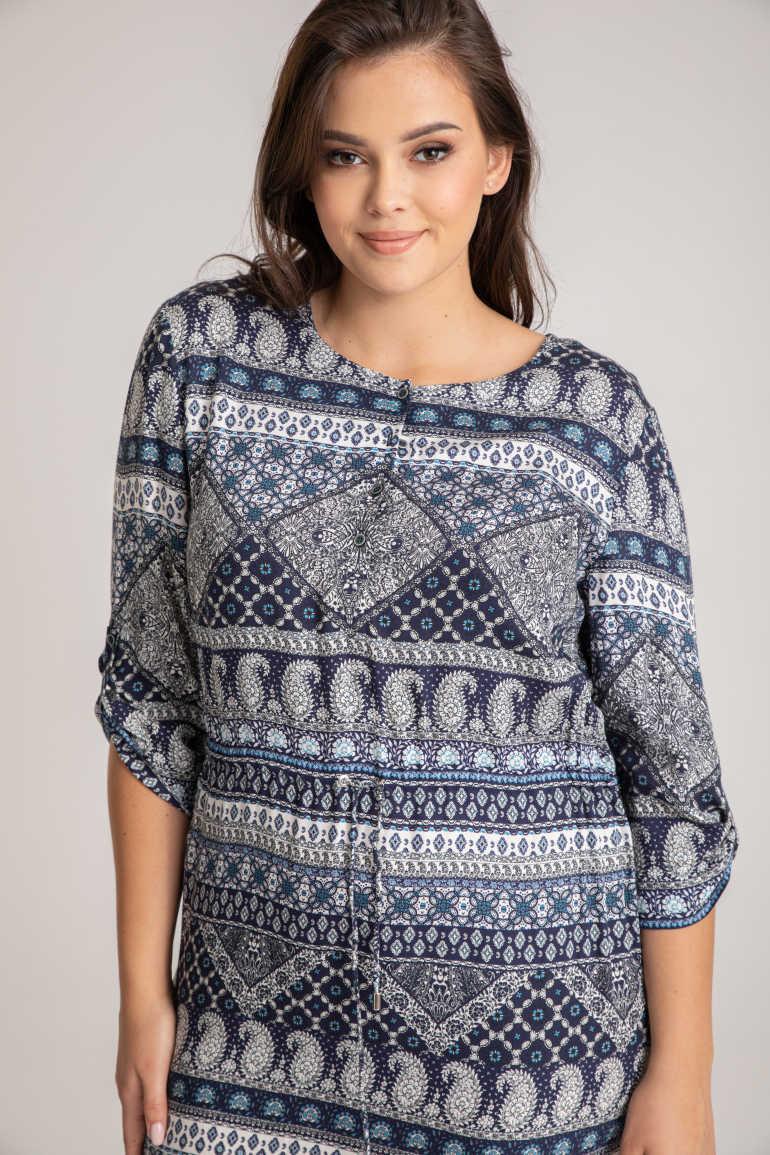 Wzorzysta sukienka koszulowa z wiskozy z jedwabiem