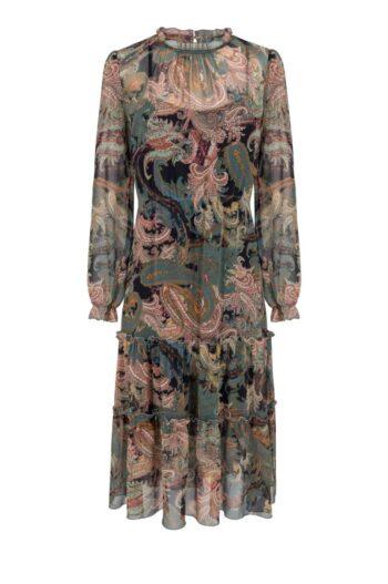 wizytowa sukienka z szyfonu w nadruk polskiej marki Vito Vergelis
