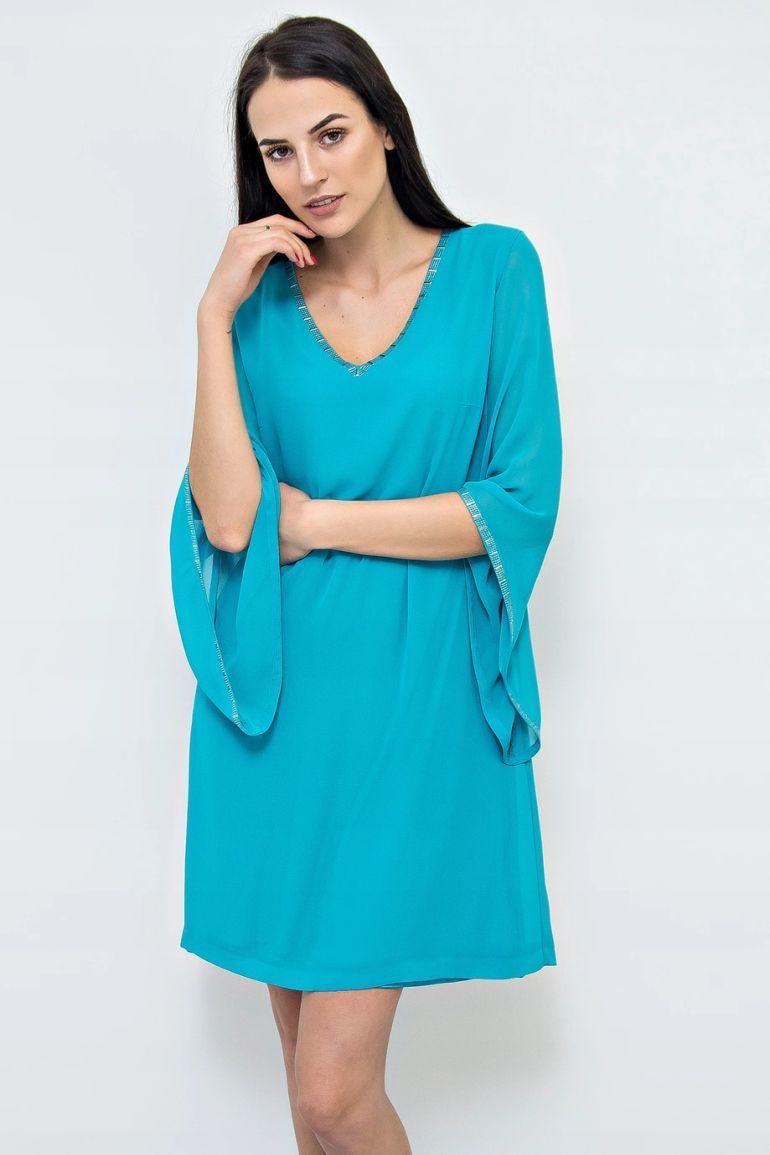 Zielona sukienka szyfonowa z aplikacją
