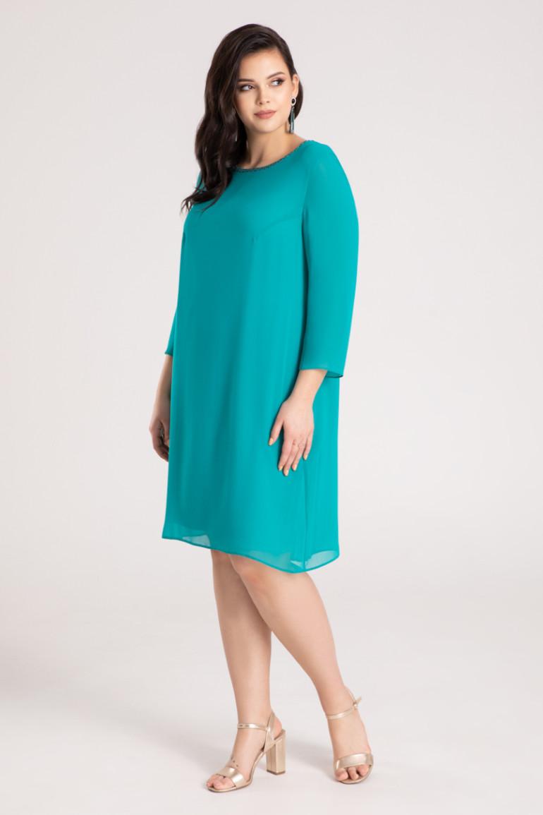 Zielona sukienka wizytowa z plisowaniem