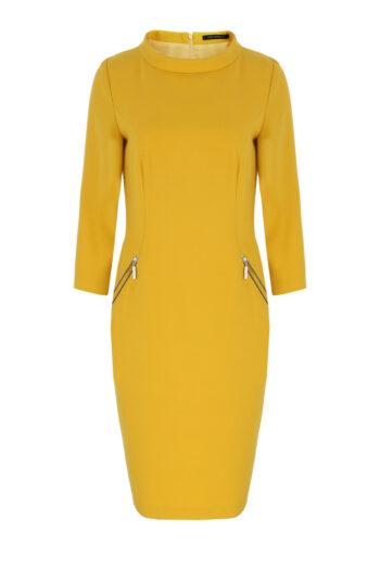 Żółta sukienka z półgolfem marki Vito Vergelis
