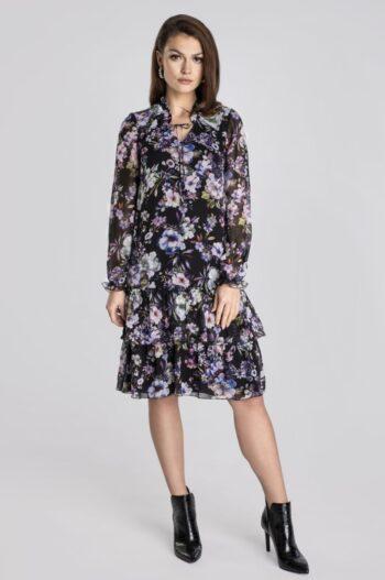 zwiewna, szyfonowa sukienka w kwiaty z falbanami polskiej marki Vito Vergelis