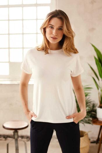 Biała bluza damska micormodal krótki rękaw Dzianinowa bluzka polska marka Vito Vergelis