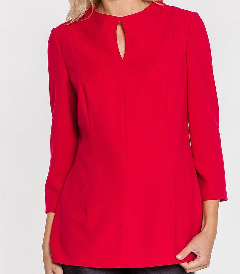 Czerwona bluzka ze stójką