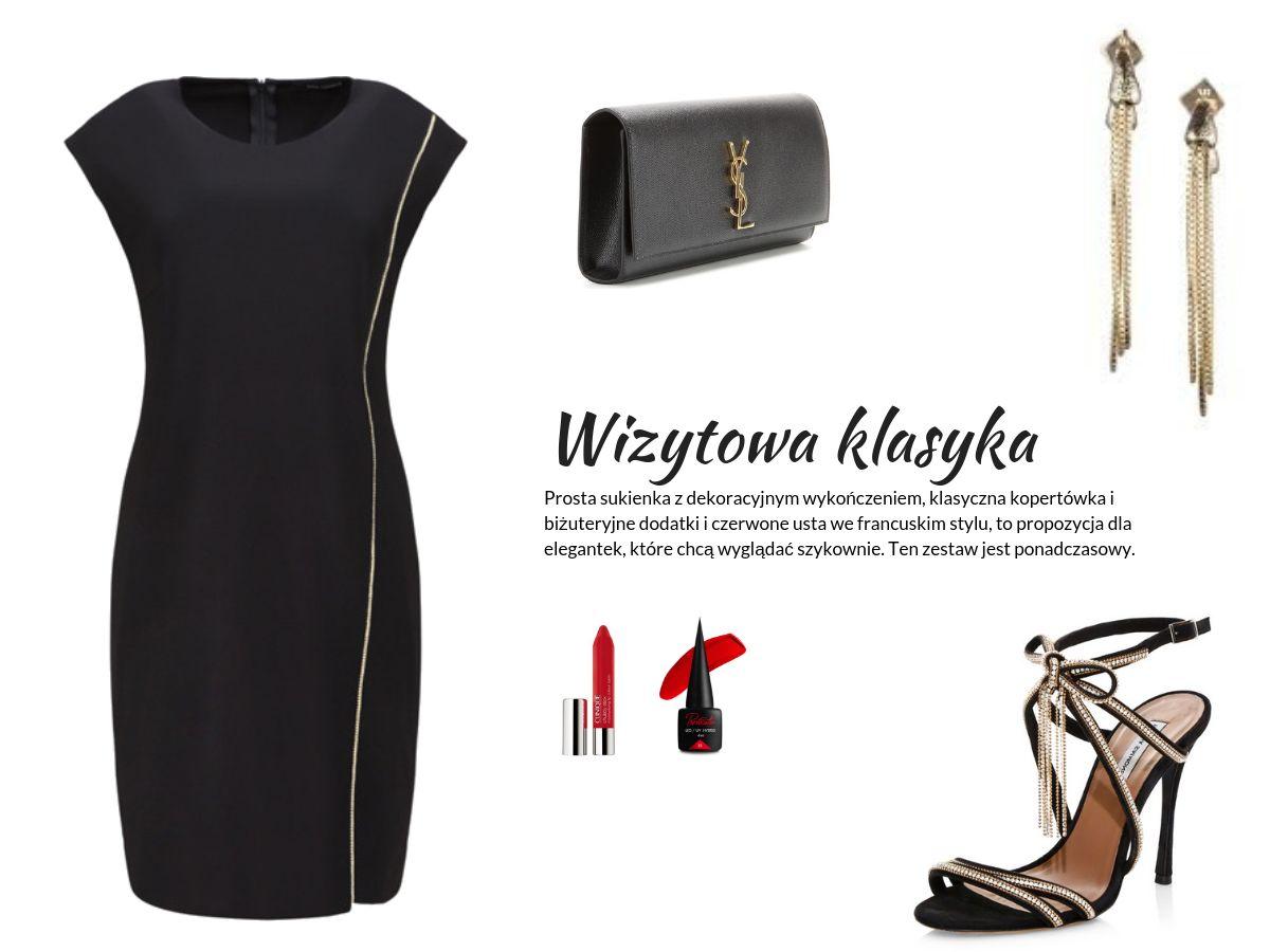 stylizacja na Sylwestra lub na wieczór i randkę - mała czarna sukienka Vito Vergelis,