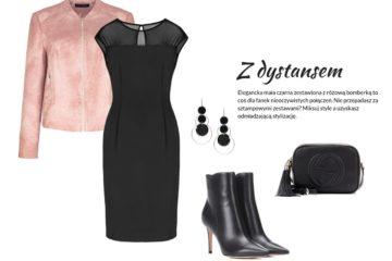 wiosenne kurtki - wizytowa stylizacja na wiosnę - różowa kurtka, mała czarna sukienka