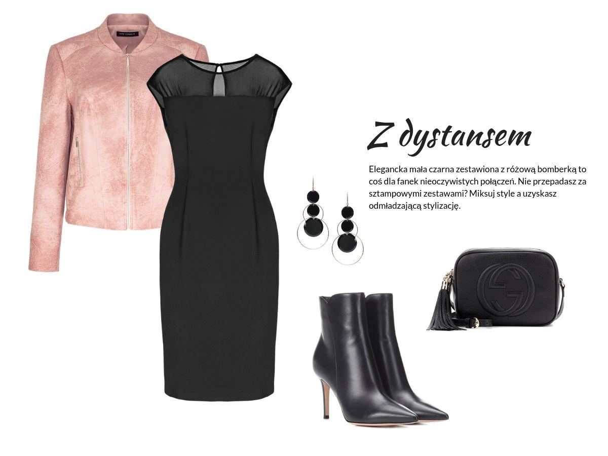 wiosenne płaszcze i kurtki - wizytowa stylizacja na wiosnę - różowa kurtka, mała czarna sukienka