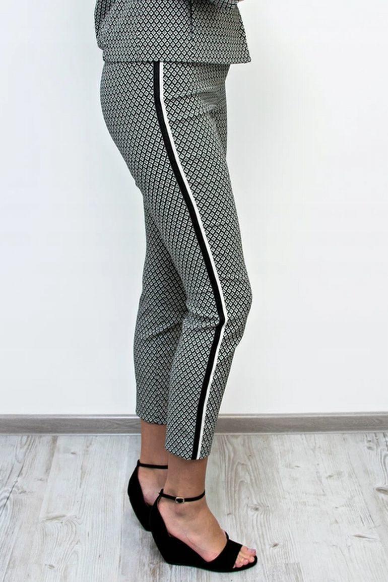 Biało-czarne spodnie z lampasem
