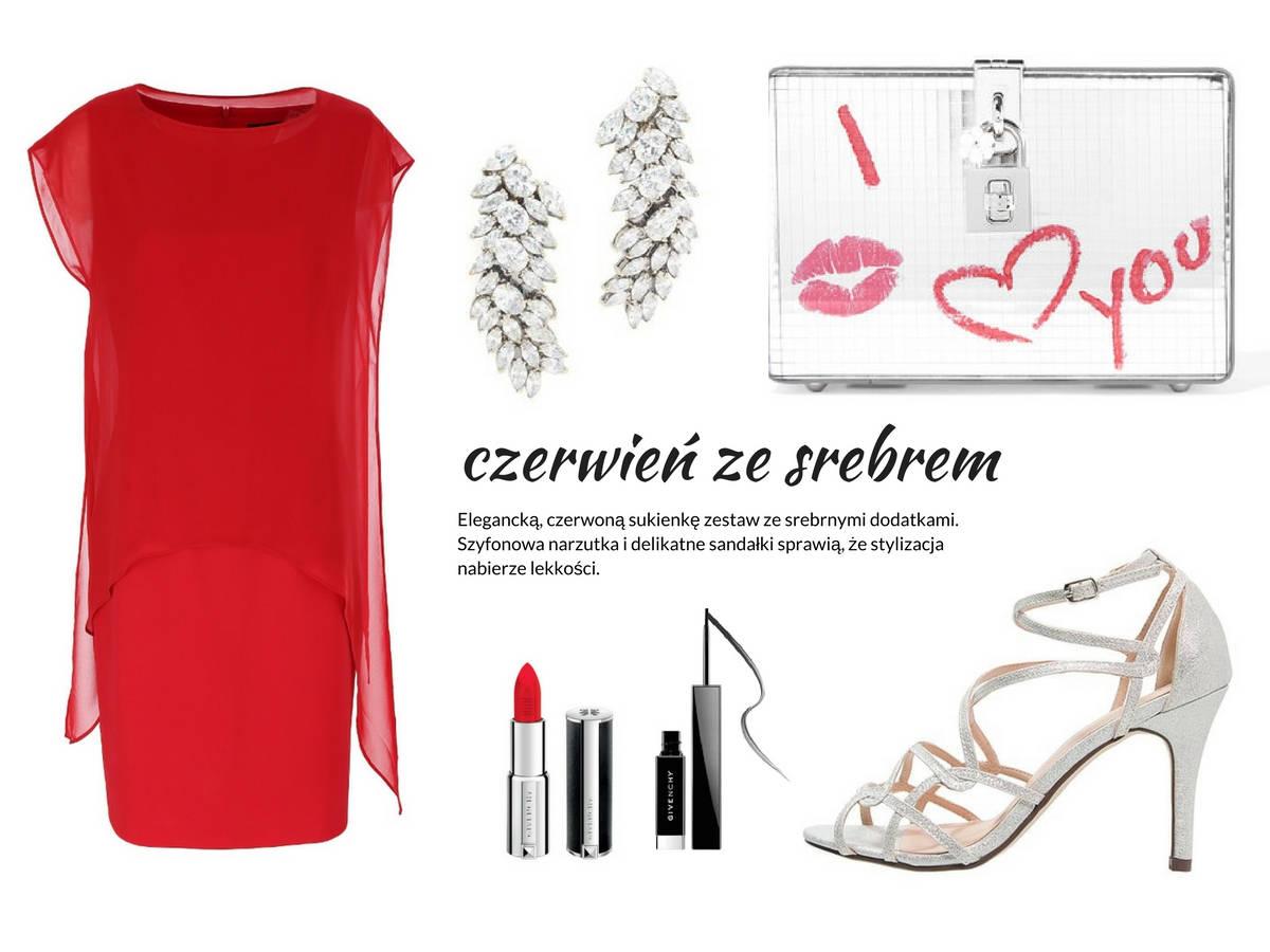 stylizacja na walentynki - czerwona sukienka z szyfonową narzutką Vito Vergelis