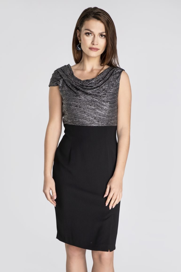 Czarna sukienka ze srebrną górą