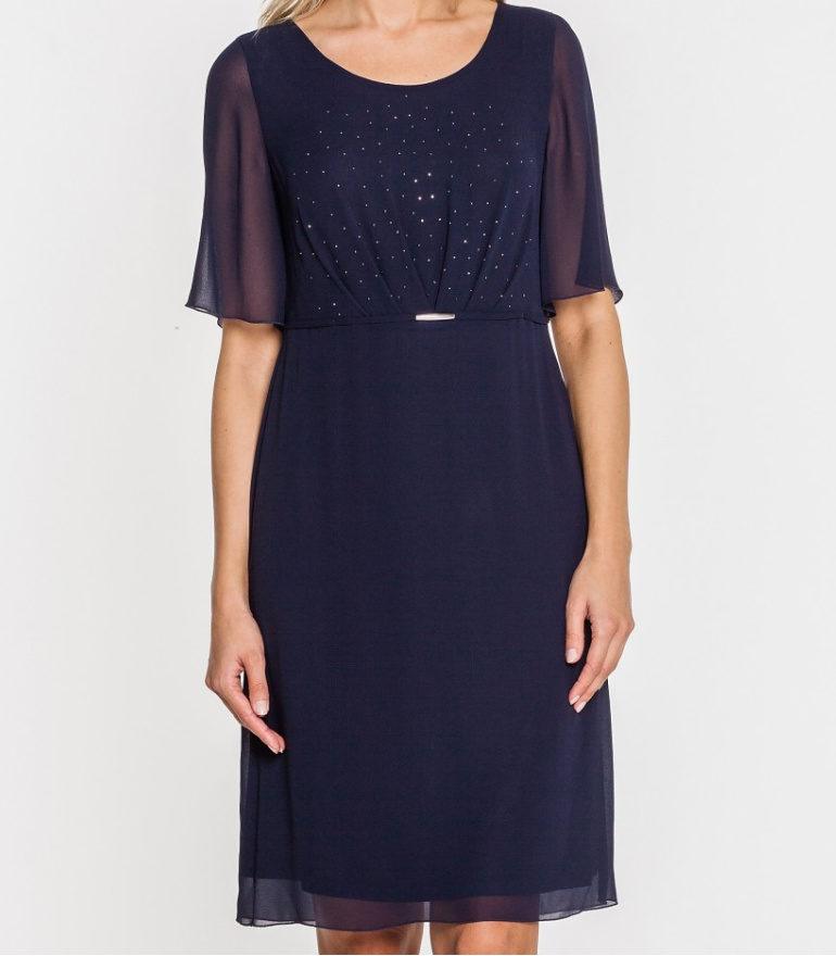 Granatowa sukienka z kryształkami