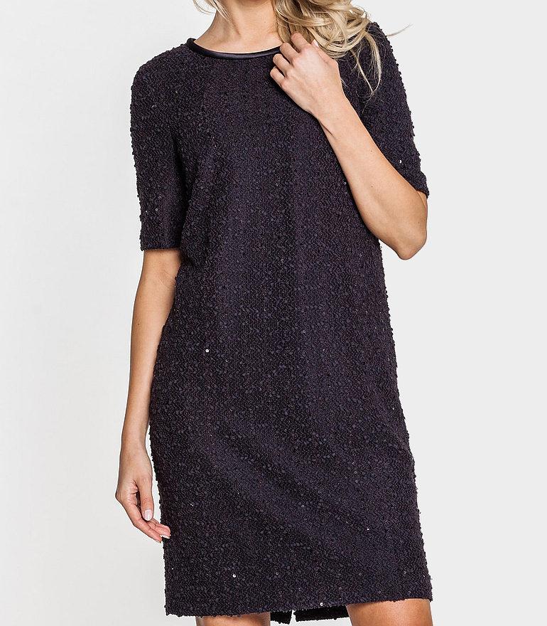 czarna sukienka boucle z cekinami