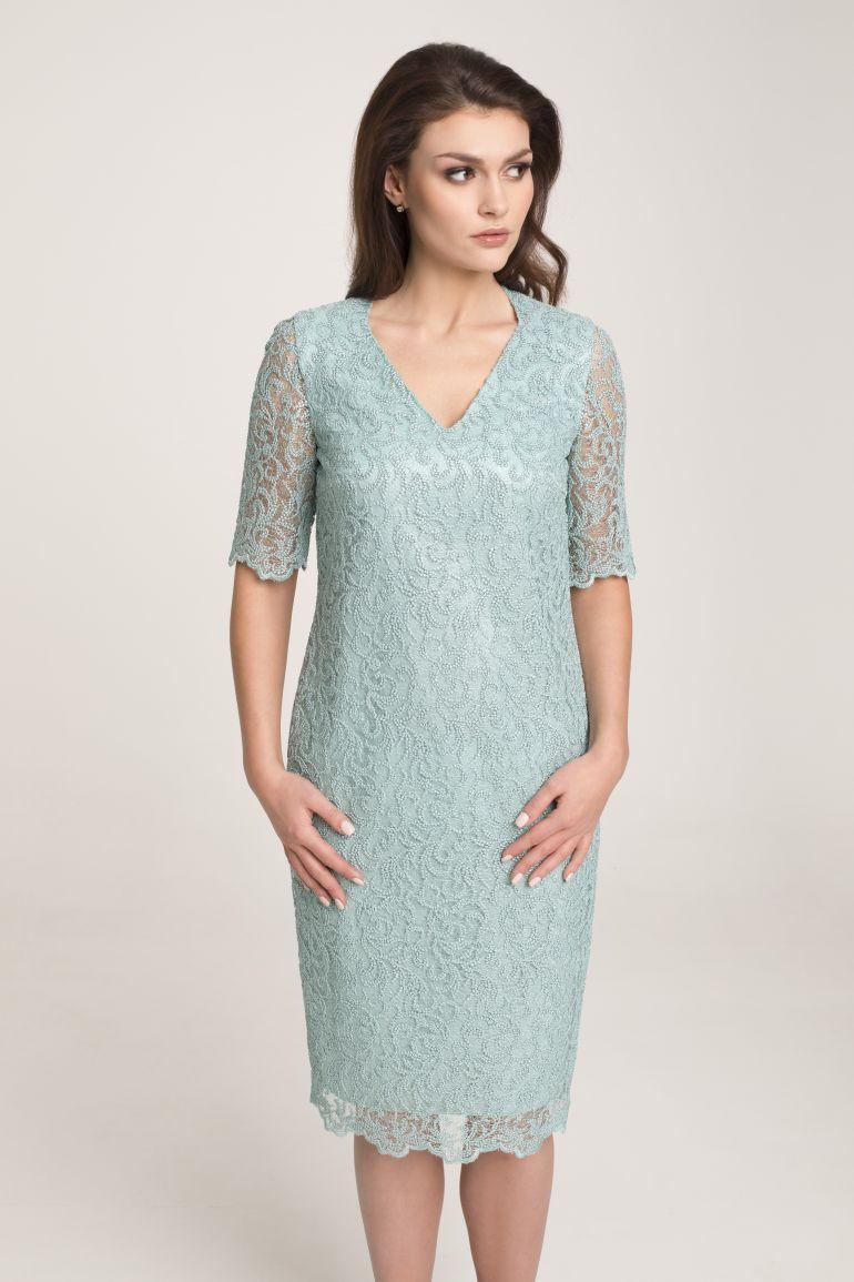 Wizytowa sukienka z gipiury miętowa