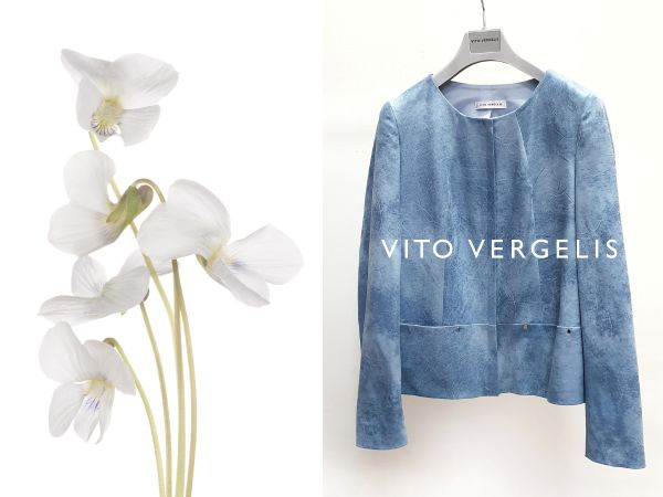 błękitna pudełkowa kurtka z ekoskóry Vito Vergelis